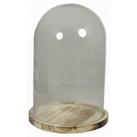 Glazen stolp met houten onderbord 25 cm