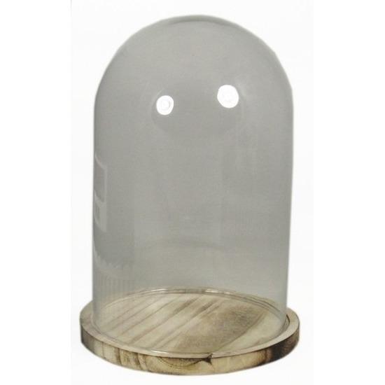 Glazen stolp met houten onderbord 30 cm