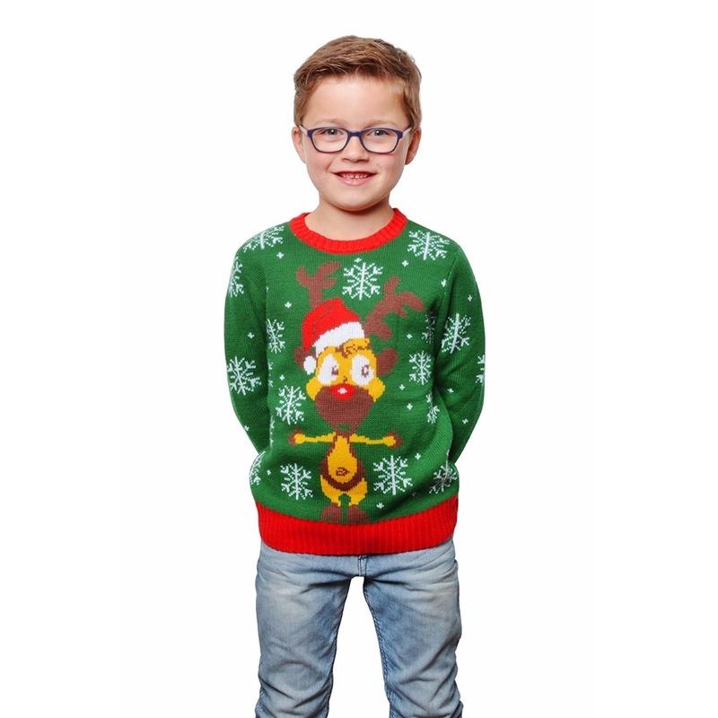 Groene kersttrui met rendier voor kinderen. groene kerstmis trui met een rendier aan de voorzijde. de ...