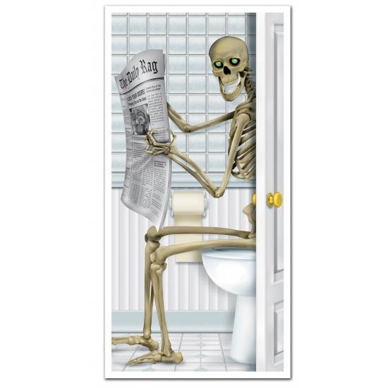 Geen Horror deurposter skelet op toilet 76 x 152 cm Halloween feestartikelen