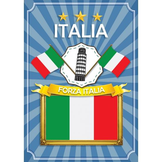 Landen versiering en vlaggen Shoppartners Italia deurposter groen wit rood