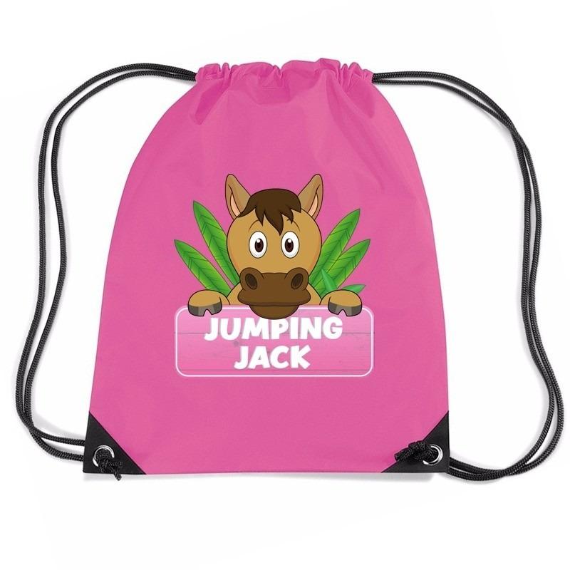 Jumping Jack paarden rugtas / gymtas roze voor kinderen