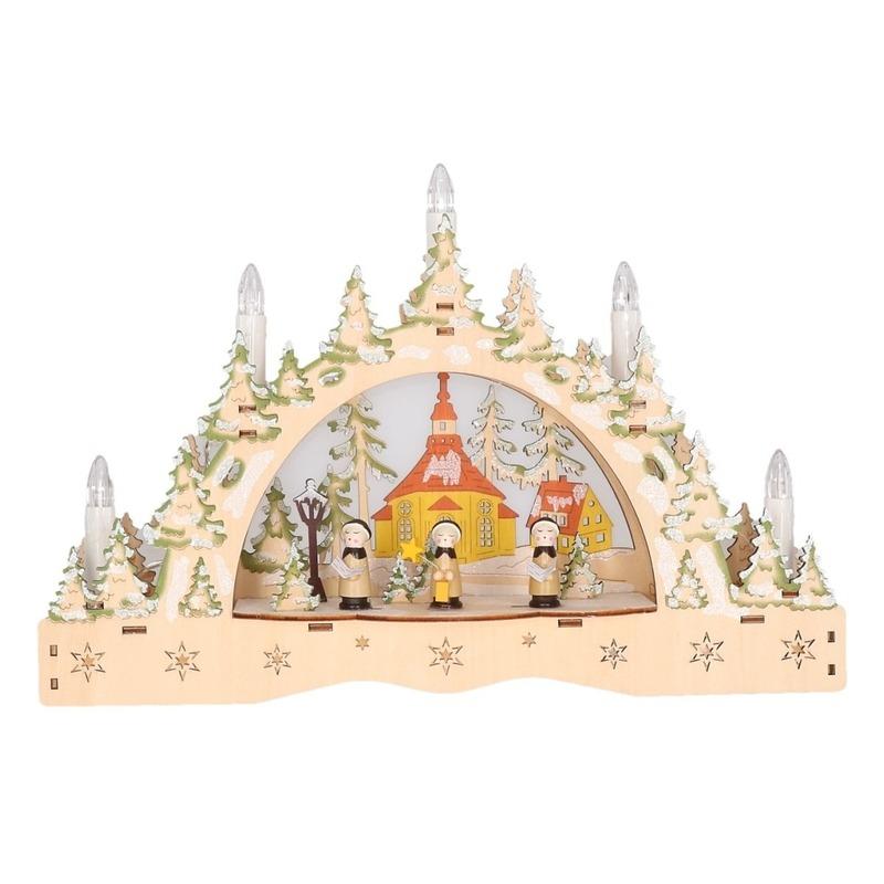 Kaarsenbrug met kerk naturel hout