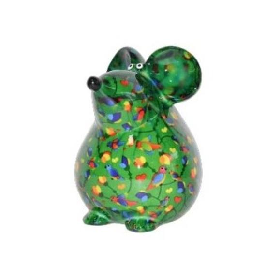 Kado spaarpot groene muis met vogel print 17 cm