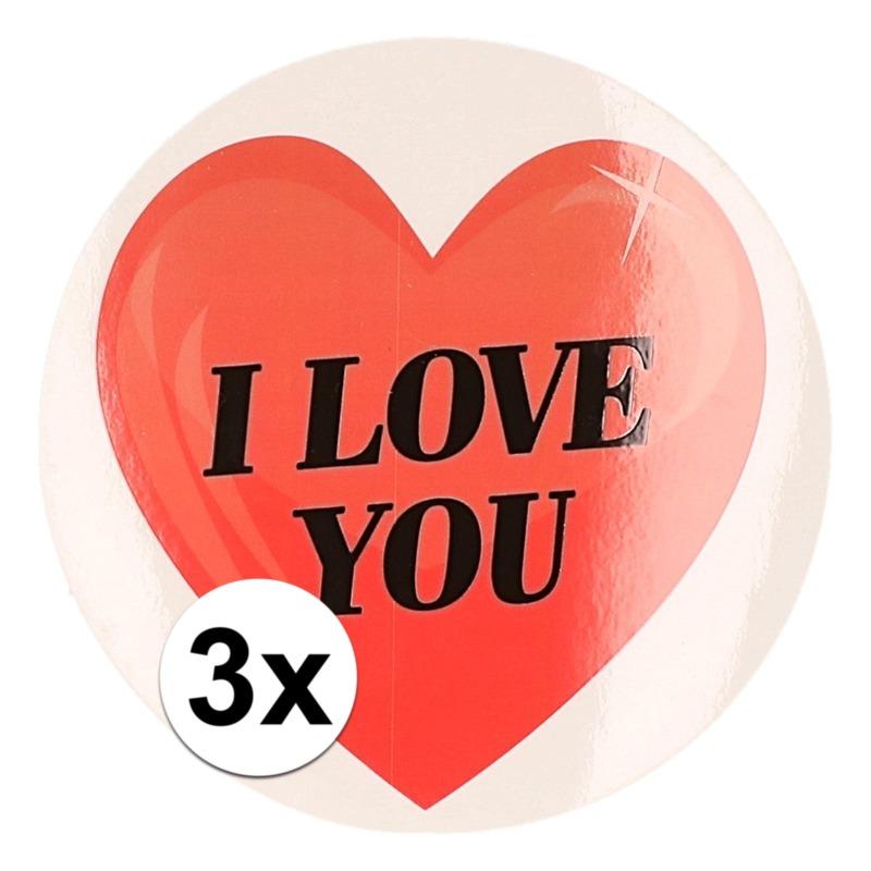 Cadeauverpakkingen Shoppartners Kadostickers hart I Love You 9 cm 3 stuks