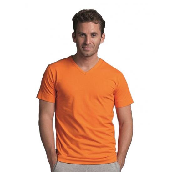 Katoenen Lemon Soda heren oranje v hals shirt