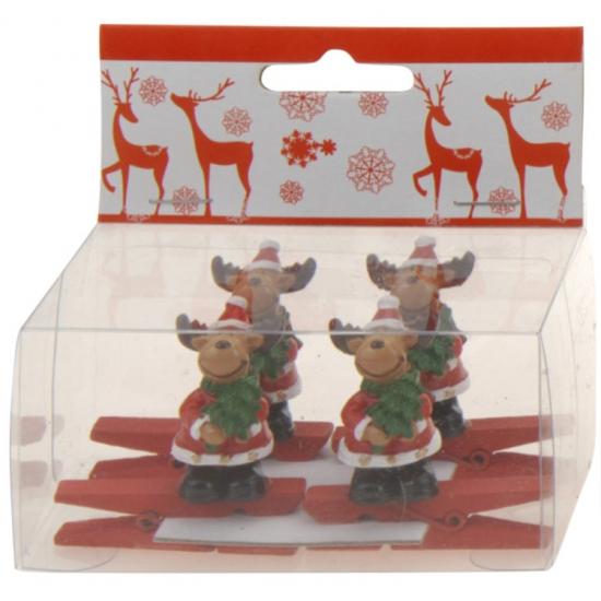 Deze kerst knijper is gemaakt van hout, de rendier is gemaakt van porselein. de totale afmeting van de ...