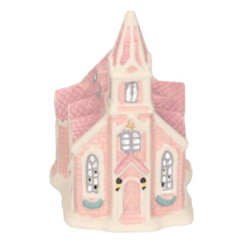 Kerstversiering decoratie bruin/gekleurd kerkje huisje 10 cm met LED lampjes