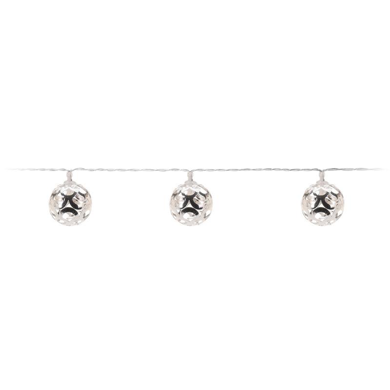 Kerstversiering lichtsnoer LED verlichting zilver 130 cm
