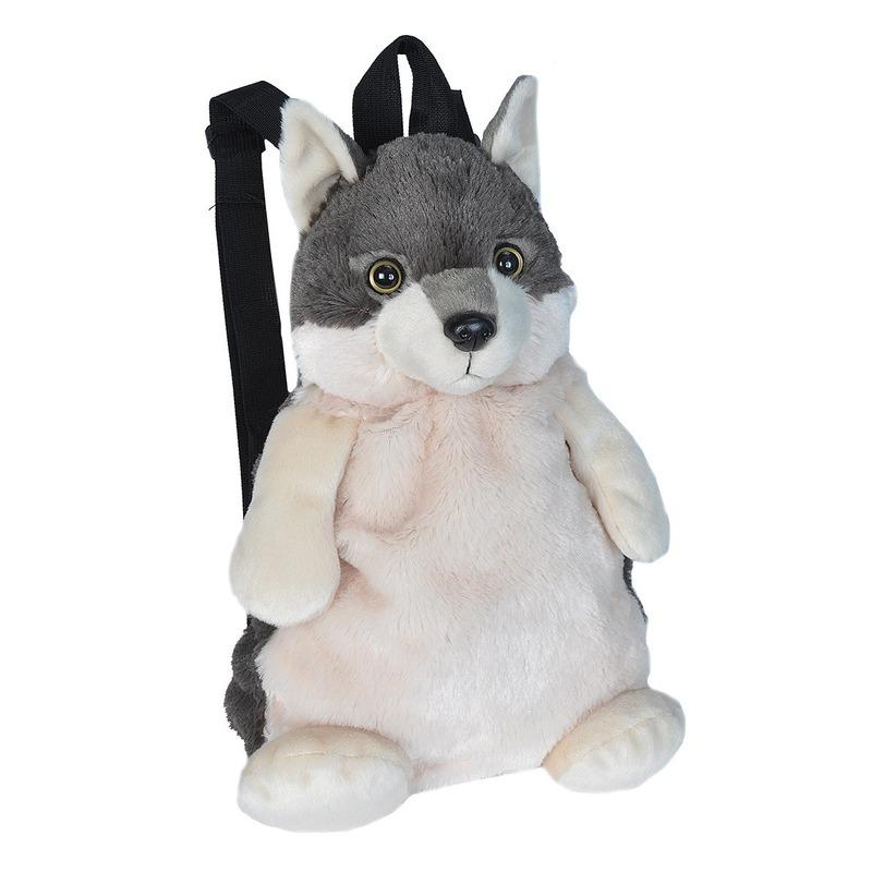 ed1dce98904 Kinder rugzakje pluche wolf knuffeldier 33 cm € 21.95. Bij: partyshopper.nl