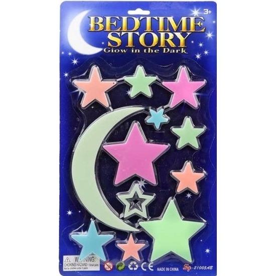 Kinderkamer decoratie sterren gekleurd 12 stuks glow in the dark Geen Hoge kwaliteit