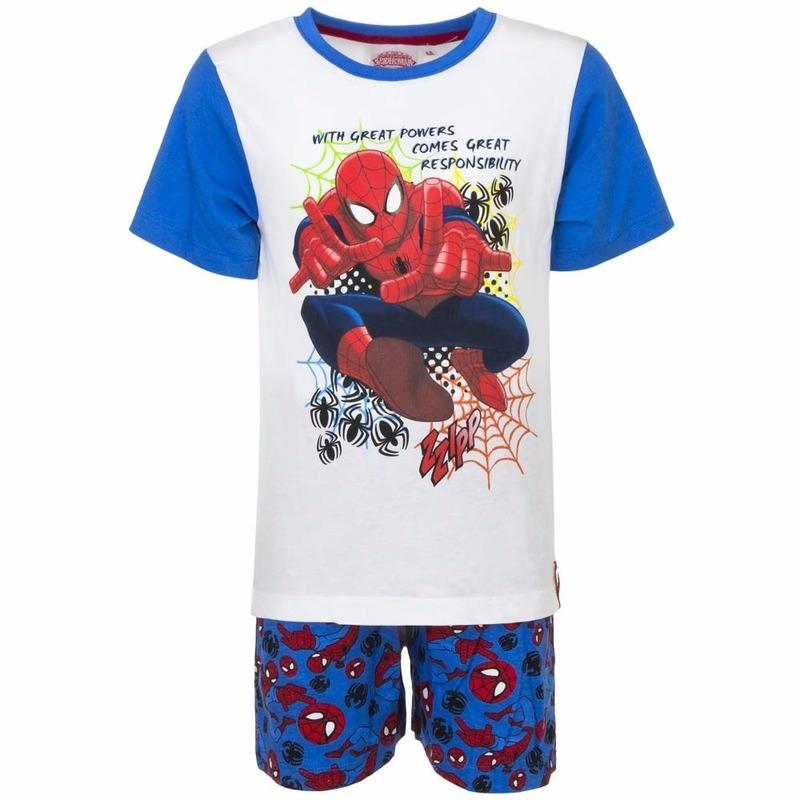Kinderpyjama Spiderman wit/blauw