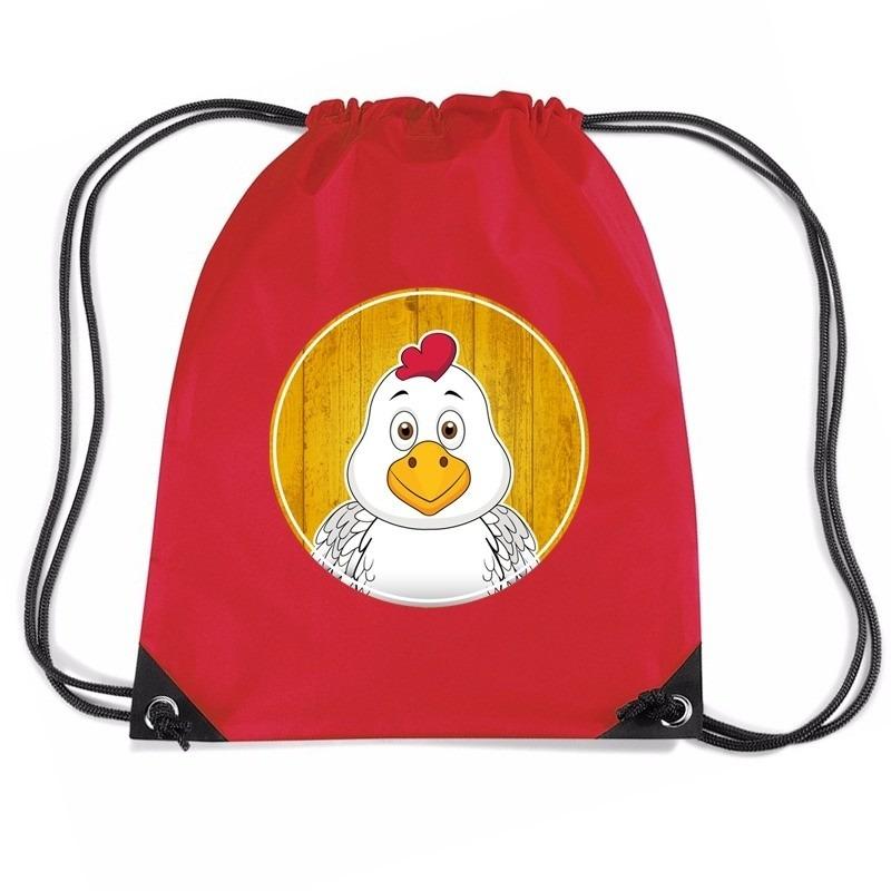 Kippen rugtas / gymtas rood voor kinderen