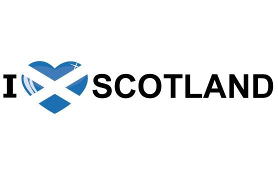 Koffer stickers I Love Scotland Shoppartners te koop
