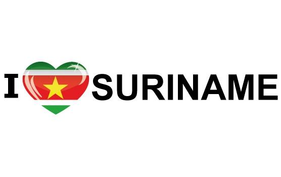 Shoppartners Koffer stickers I Love Suriname Landen versiering en vlaggen
