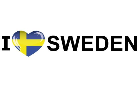 Koffer stickers I Love Sweden Shoppartners Landen versiering en vlaggen