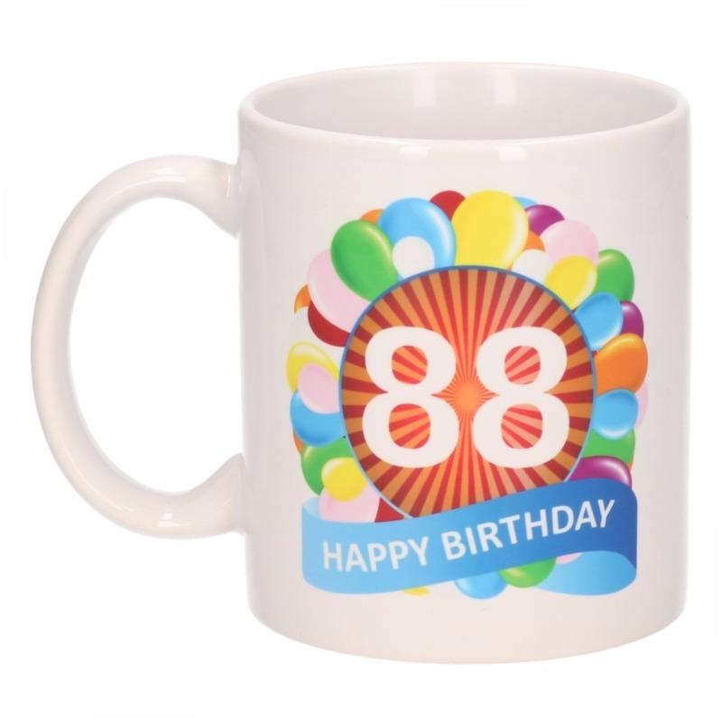 Koffiemok ballon thema 88 jaar 300 ml