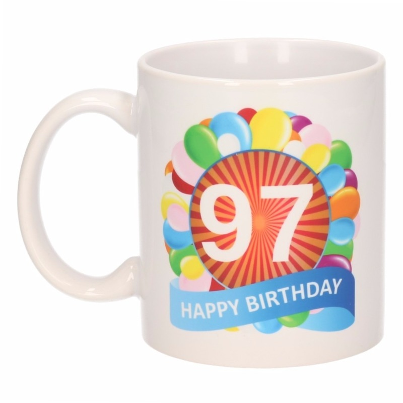 Koffiemok ballon thema 97 jaar 300 ml