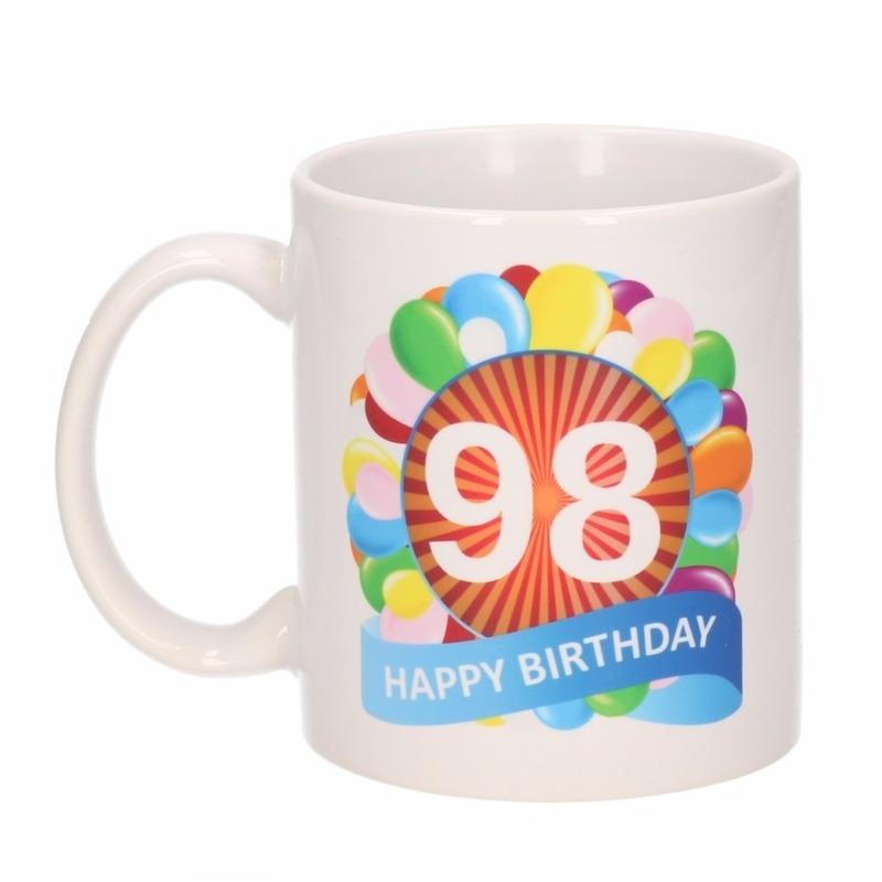 Koffiemok ballon thema 98 jaar 300 ml