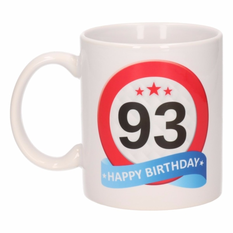 Koffiemok verkeersbord thema 93 jaar 300 ml