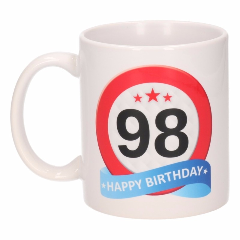 Koffiemok verkeersbord thema 98 jaar 300 ml