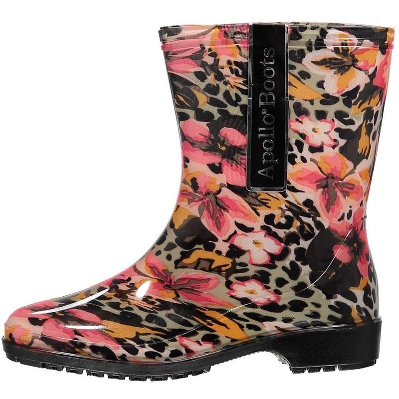 Korte dames regenlaars met luipaard/bloemenprint