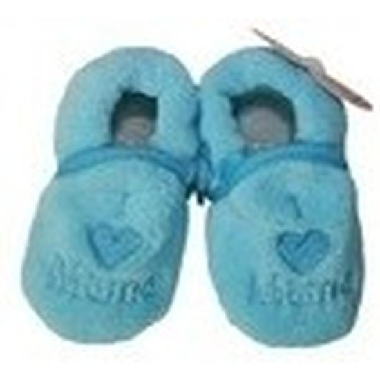 Kraamcadeau blauwe babyslofjes/pantoffels love mama