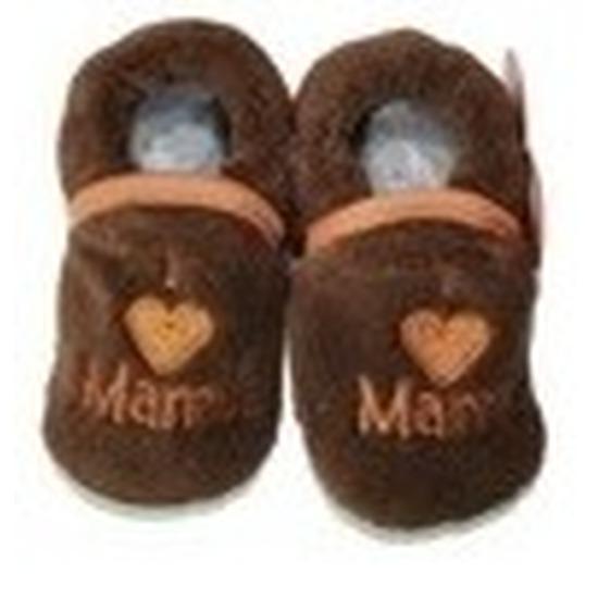 Kraamcadeau bruine babyslofjes/pantoffels love mama