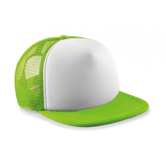 Lime/witte vintage baseball cap voor kinderen