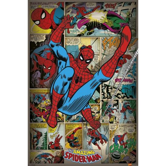 Woonaccessoires Marvel poster retro Spiderman 61 x 91,5 cm