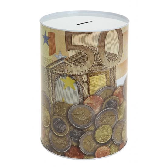 Metalen spaarpot 50 euro