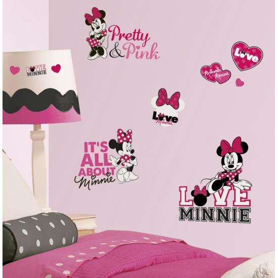 Feestartikelen diversen Disney Minnie Mouse loves pink wand stickers