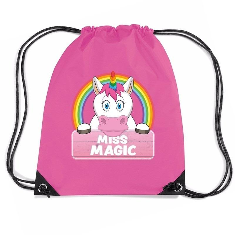 Miss Magic eenhoorn rugtas / gymtas roze voor kinderen