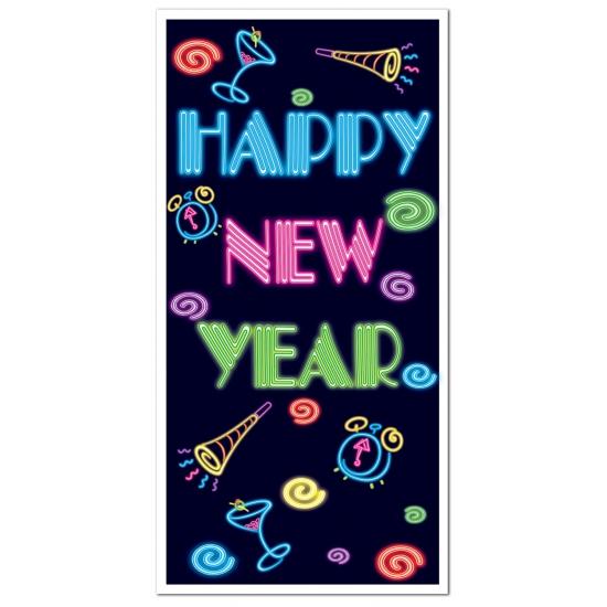 Nieuwjaar poster met neon letters