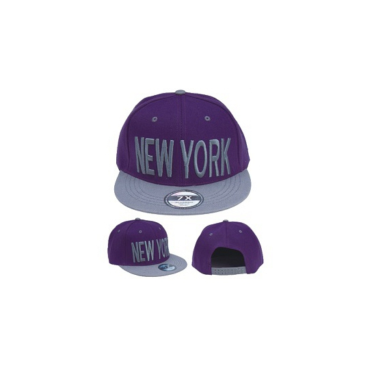 Paarse snapback pet New York