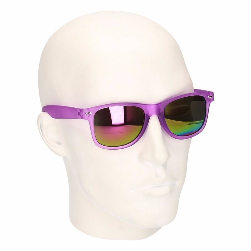 Paarse zonnebril met spiegelglas