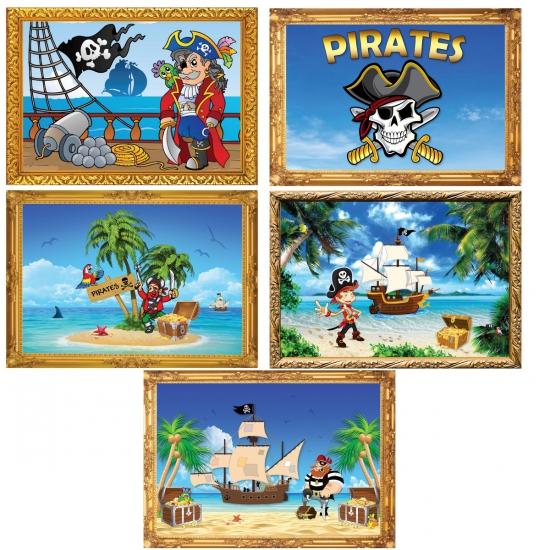 Piratenfeestje posters 5 stuks Fun Feest party gadgets Thema feestartikelen