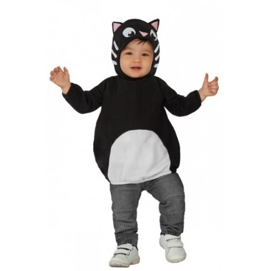 Zwart katje dierenkostuum voor peuters. het kostuum bestaat uit een shirt en een muts met oren. de muts heeft ...