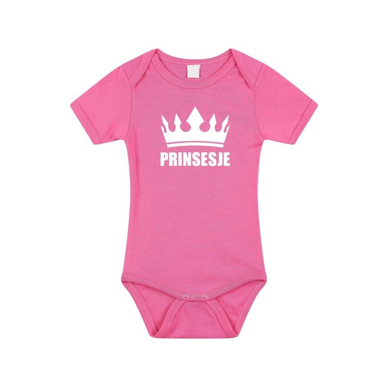 Prinsesje met kroon rompertje roze baby