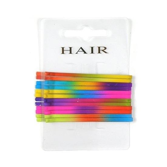 Regenboog haarspeldjes schuifjes 6.5 cm