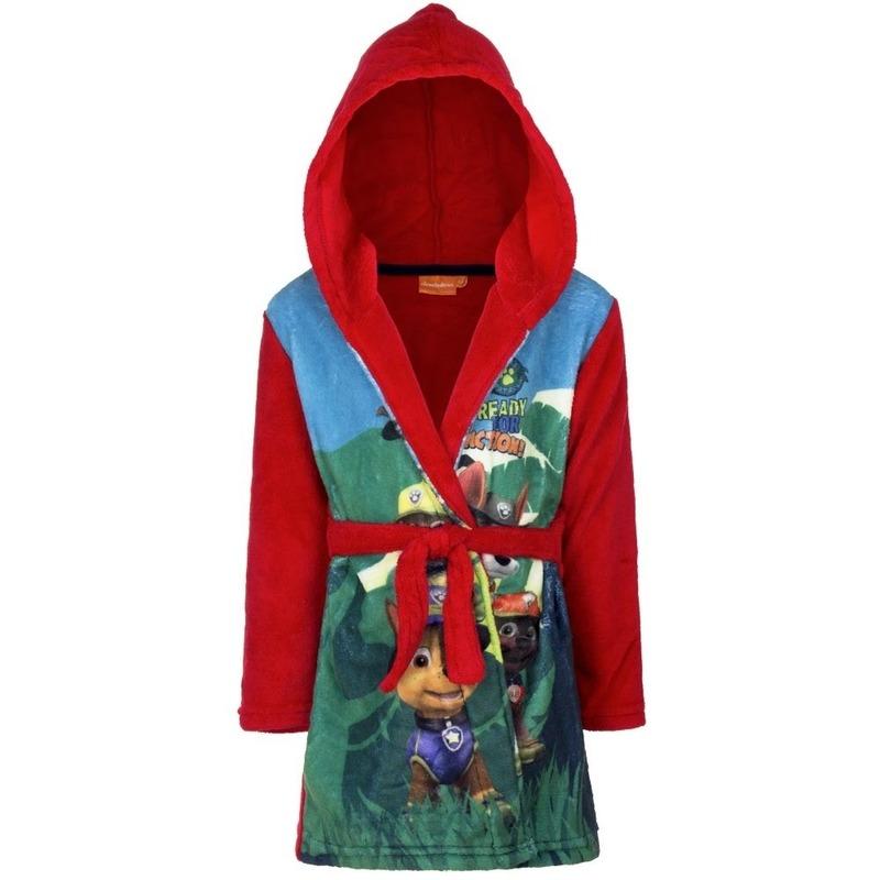 Rode badjas fleece Paw Patrol voor kids