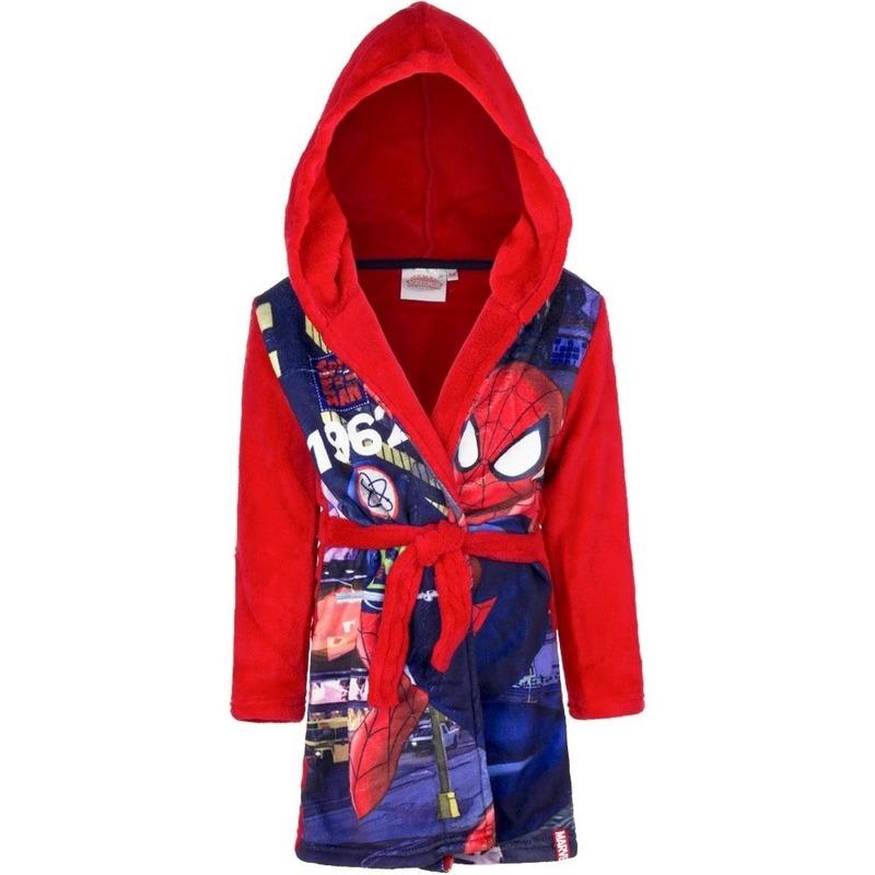 Rode badjas Spiderman fleece voor kids