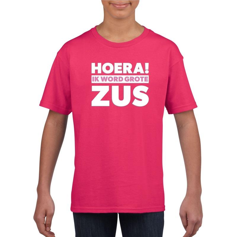 Roze Hoera ik word grote zus t-shirt voor meisjes