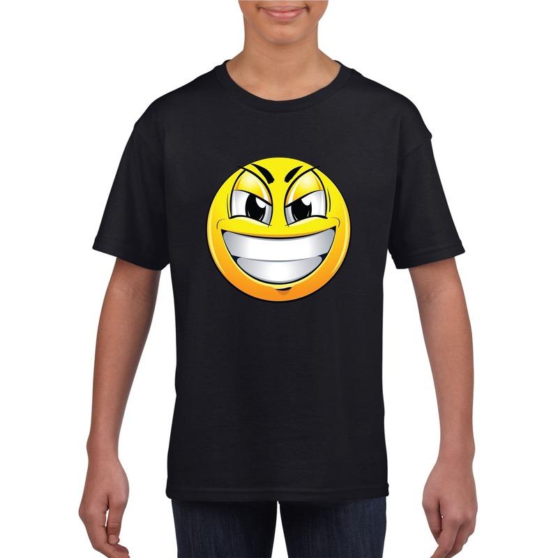 Smiley t-shirt ondeugend zwart kinderen