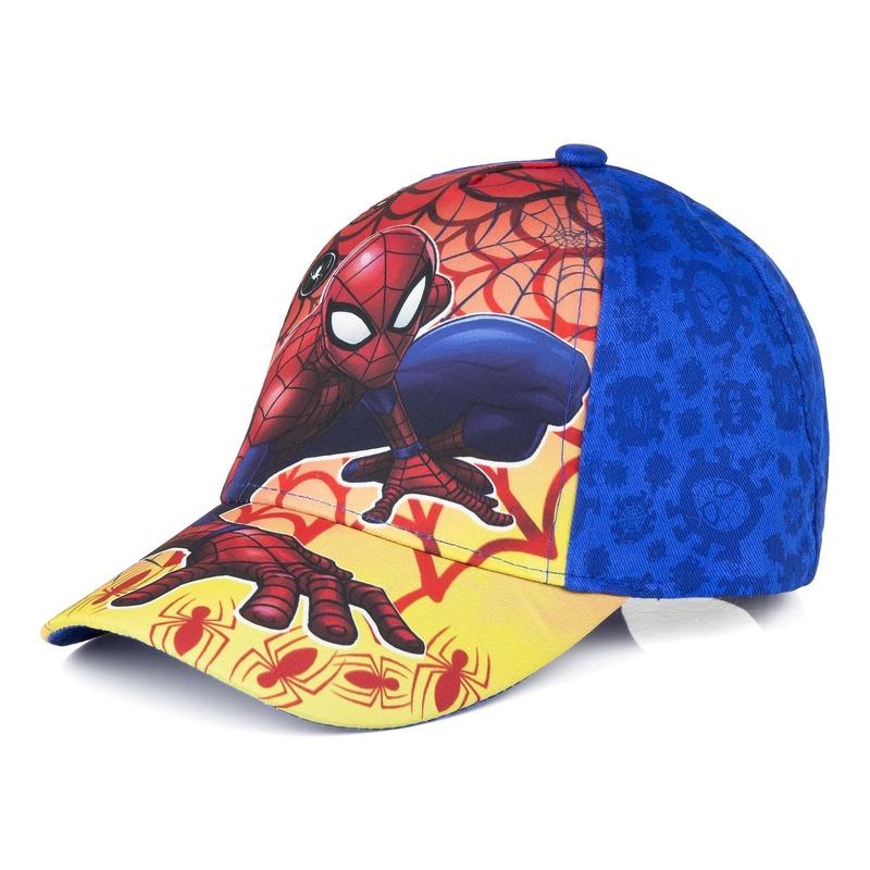 Spiderman kids petje/cap blauw vlammenprint