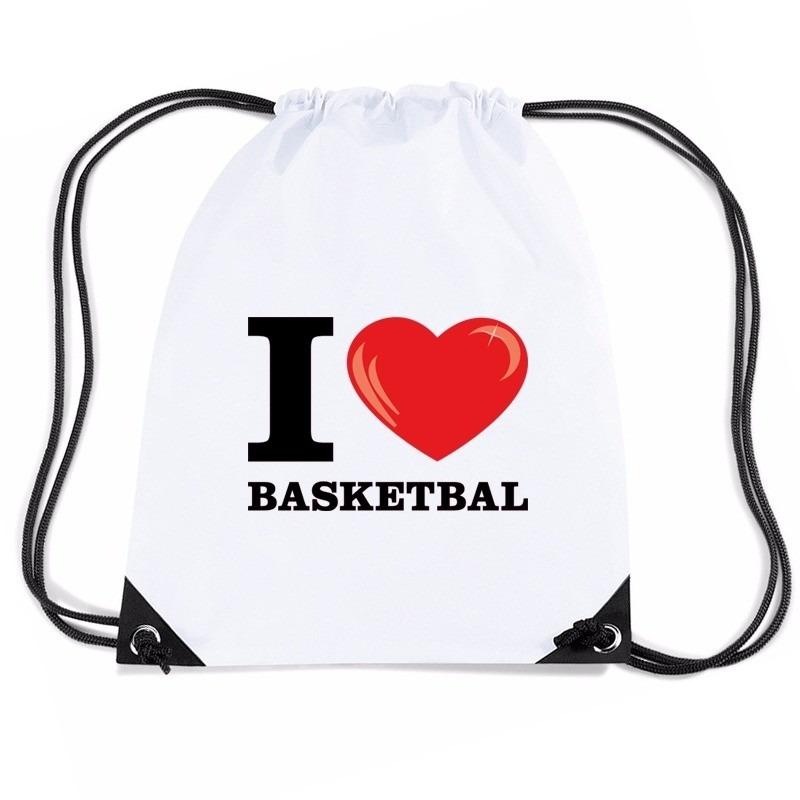 Sporttas met rijgkoord I love basketbal
