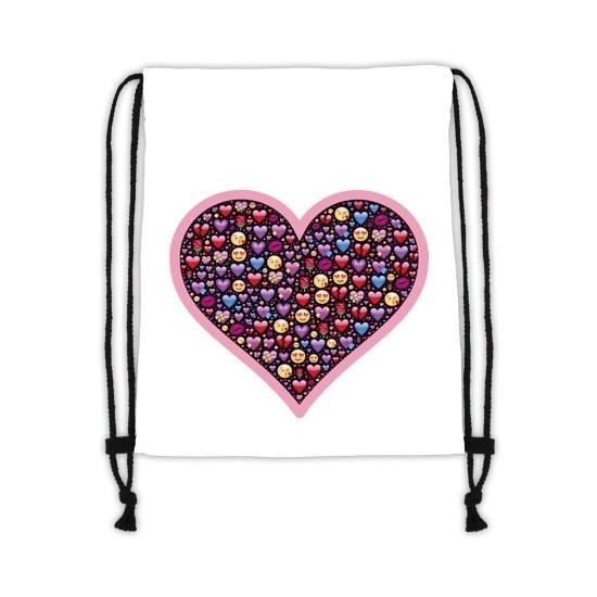 Sporttasje wit met een hart met emoticons