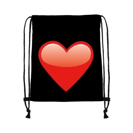 Sporttasje zwart met een rood hart