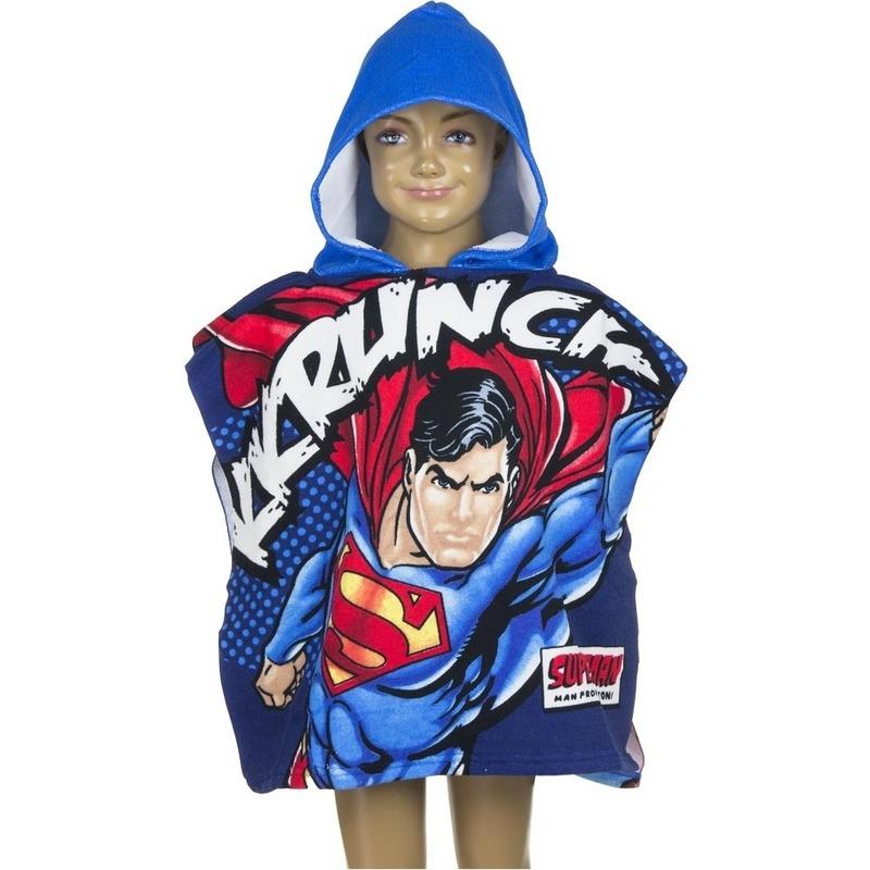 Superman zwembadponcho met blauwe capuchon