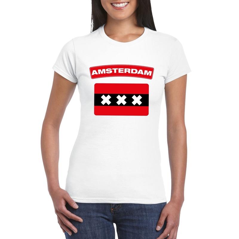 T-shirt wit Amsterdam vlag wit dames